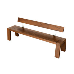 Solo Collection | Bench with Backrest 210 | Bancos de jardín | Viteo