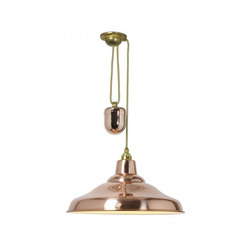 School Light Rise & Fall Polished Copper With White Interior | Iluminación general | Original BTC Limited
