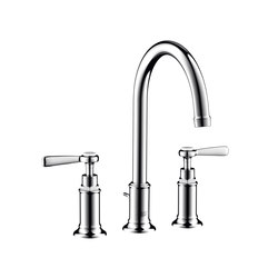 AXOR Montreux 3-hole basin mixer 180 with pop-up waste set and lever handles | Wash basin taps | AXOR