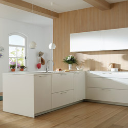 ARIANE 2 White Seff and Natural Oak | Cucine a parete | Santos