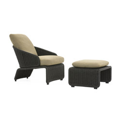 Halley Outdoor Armchair and Ottoman | Garden armchairs | Minotti