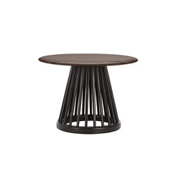 Fan Table Black Base Fumed Oak Top 600mm | Side tables | Tom Dixon
