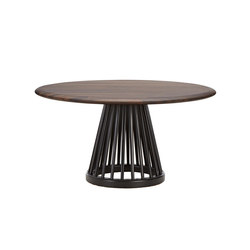 Fan Table Black Base Fumed Oak Top 900mm | Tavolini bassi | Tom Dixon