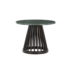 Fan Table Black Base Green Marble Top 600mm | Tavolini alti | Tom Dixon