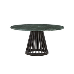 Fan Table Black Base Green Marble Top 900mm | Mesas de centro | Tom Dixon