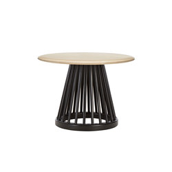 Fan Table Black Base Natural Birch Top 600mm | Side tables | Tom Dixon