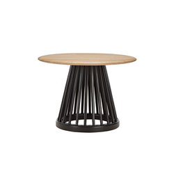 Fan Table Black Base Natural Oak Top 600mm | Beistelltische | Tom Dixon