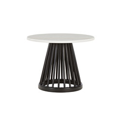Fan Table Black Base White Marble Top 600mm | Mesas auxiliares | Tom Dixon