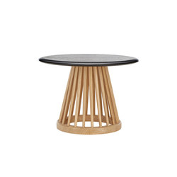 Fan Table Natural Base Black Oak Top 600mm | Side tables | Tom Dixon