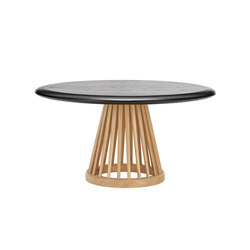 Fan Table Natural Base Black Oak Top 900mm | Lounge tables | Tom Dixon