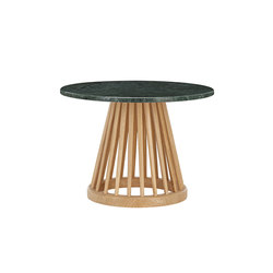 Fan Table Natural Base Green Marble Top 600mm | Side tables | Tom Dixon