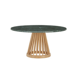 Fan Table Natural Base Green Marble Top 900mm | Tavolini bassi | Tom Dixon