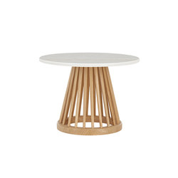 Fan Table Natural Base White Marble Top 600mm | Mesas auxiliares | Tom Dixon