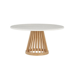Fan Table Natural Base White Marble Top 900mm | Coffee tables | Tom Dixon