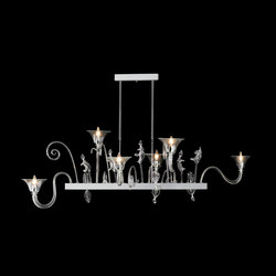 Fenice Chandelier, Clear, 21 | Ceiling suspended chandeliers | Oggetti