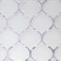 The Tile District | Danelli-C-Arabesque in Frosted White Glass with Carrara Marble Border | Glass mosaics | Tango Tile