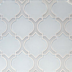 The Tile District | Danelli-Arabesque in Super White Glass with Frosted White Glass Border | Mosaïques verre | Tango Tile