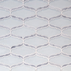 The Tile District | Cosmopolitan-Elongated Arabesque in Super White Glass with Carrara Marble Border | Mosaïques verre | Tango Tile