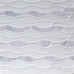 The Tile District | Aqualina-Wave in Carrara Marble and Super White Glass | Mosaici vetro | Tango Tile