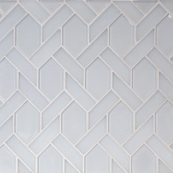 The Tile District | Astoria-Elongated Hexagon in Super White Glass with Frosted White Glass Border | Mosaïques verre | Tango Tile