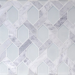 The Tile District | Astoria-C-Elongated Hexagon in Carrara Marble with Super White Glass Insert | Mosaïques verre | Tango Tile
