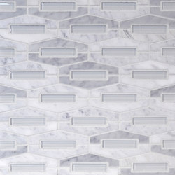 The Tile District | Montage-Elongated Hexagon in Carrara Marble with Super White Glass Insert | Mosaïques verre | Tango Tile