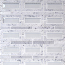 The Tile District | Peninsula-Rectangle Carrara Marble with Super White Glass Insert | Mosaïques verre | Tango Tile