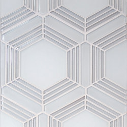 The Tile District | Plaza-Large Hex in Super White and Frosted Glass | Mosaïques verre | Tango Tile