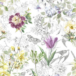 Jardin Des Plantes Fabrics | Sibylla - Amethyst | Curtain fabrics | Designers Guild