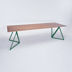 Steel Stand Table - moss green/ walnut | Dining tables | NEO/CRAFT