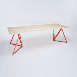 Steel Stand Table - coral red/ ash white | Dining tables | NEO/CRAFT