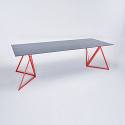 Steel Stand Table - coral red/ ash black | Dining tables | NEO/CRAFT