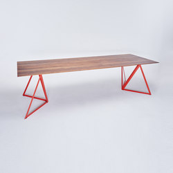 Steel Stand Table - coral red/ walnut | Dining tables | NEO/CRAFT