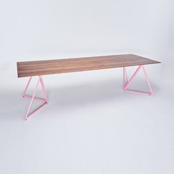 Steel Stand Table - light pink/ walnut | Dining tables | NEO/CRAFT