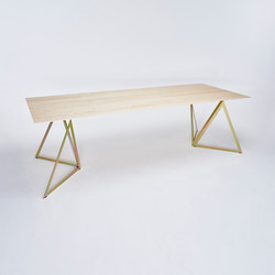 Steel Stand Table - gold galvanized/ ash white | Mesas comedor | NEO/CRAFT