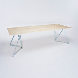 Steel Stand Table - silver galvanized/ ash white | Dining tables | NEO/CRAFT