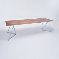 Steel Stand Table - silver galvanized/ walnut | Tavoli da pranzo | NEO/CRAFT