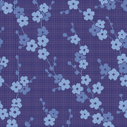 Decor Blooming | Cherry Blossom Blue 10x10 | Glass mosaics | Mosaico+