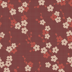 Decor Blooming | Cherry Blossom Red 10x10 | Glass mosaics | Mosaico+