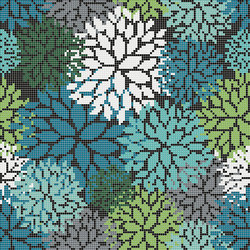 Decor Blooming | Florilege Green 10x10 | Glass mosaics | Mosaico+
