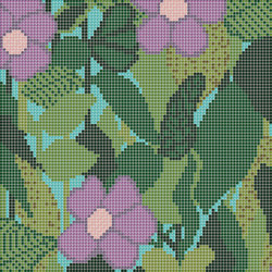 Decor Blooming | Little Ida Green B 10x10 | Glass mosaics | Mosaico+