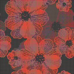 Decor Blooming | Poppy Suit Red 10x10 | Glass mosaics | Mosaico+