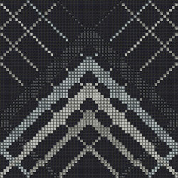 Decor Geometric | Overlap Black Silver 10x10 | Glass mosaics | Mosaico+