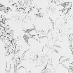 Jardin Des Plantes Wallpaper | Sibylla Garden - Black And White | Wall coverings / wallpapers | Designers Guild