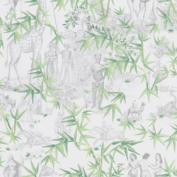 Au Thèâtre Ce Soir Wallpaper | Exotisme – Vert Buis | Wall coverings / wallpapers | Designers Guild
