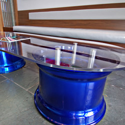 StandOff Barrels - Raised Glass Coffee Table | Möbelbeschläge | Gyford StandOff Systems®