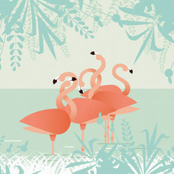 Flamingos | Wall coverings / wallpapers | LONDONART