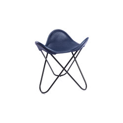 Hocker Neck-Leder Blau | Sgabelli | Manufakturplus