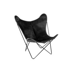 Hardoy Butterfly Chair Kuhfell Schwarz | Fauteuils d'attente | Manufakturplus