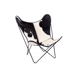 Hardoy Butterfly Chair Kuhfell Schwarz-Weiß | Lounge chairs | Manufakturplus